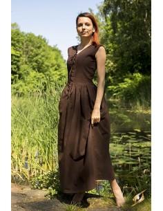 Peasant Dress - Dark Brown