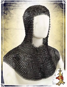 Flat Butted Rings Chainmail Coif – 10mm 16ga – Black