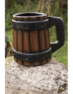 Beermug with metal bands -...
